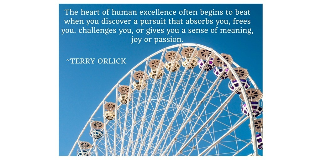 The hart of human excellence often begins to beat when you discover a pursuit that absorbs you, frees you. challenges you, or gives you a sense of meaning, joy or passion.